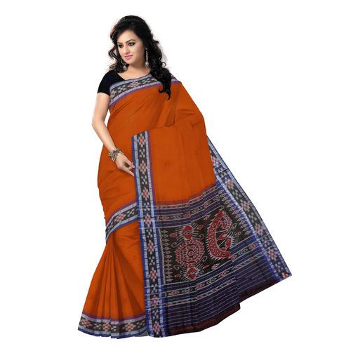 OSS7417: Buti with Pasapalli Border Brick colour Orissa handloom cotton saree