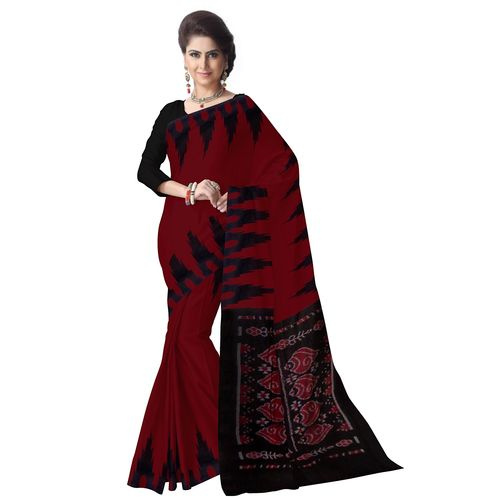OSS7521: Maroon with Black color Handwoven cotton Sari online shopping