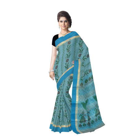 OSSWB90017: Handwoven Block print design cotton saree for festival wear