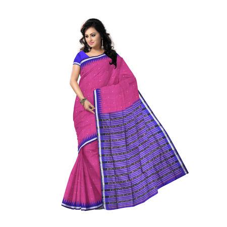 AJ000126: Beautiful Lotus Pink with Ink Blue Handloom Sambalpuri Silk saree with Blousepiece.