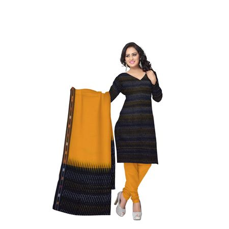 Unstitched Women's Handloom Black with Orange Ponchampally Ladies cotton Dress Material with Dupatta AJ001331