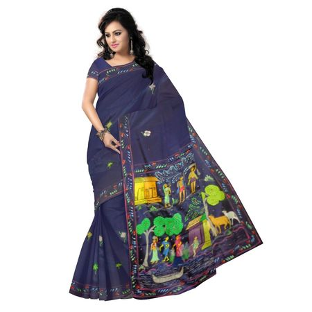 OSS20088: Navy Blue color Patachitra handmade painting saree