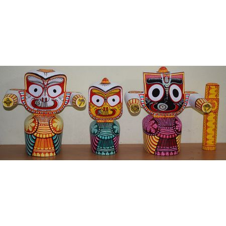 Neem Wooden Handicraft of Lord Jagannath, Lord Balabhdra and Maa Suvadra AJ001392