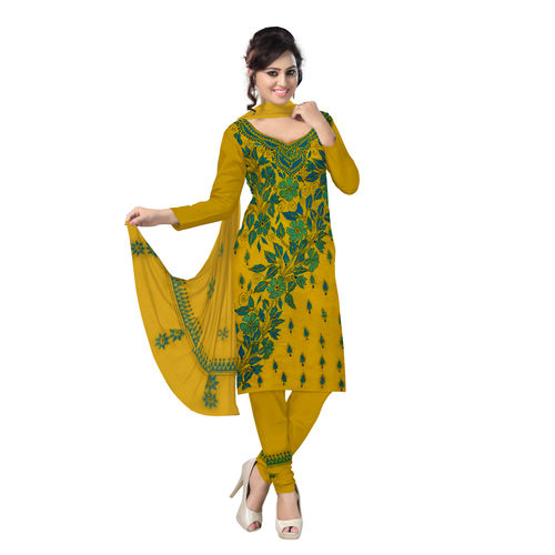 OSSWB9058: Yellow Embroidery Work Unstitched Salwar Suit of Bengal