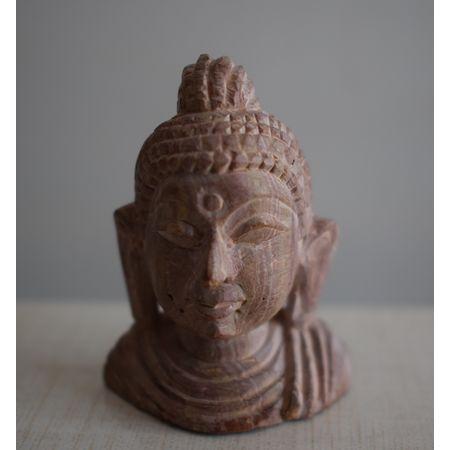 OSS400011: Lord Buddha face Brown Stone Work Showpiece.