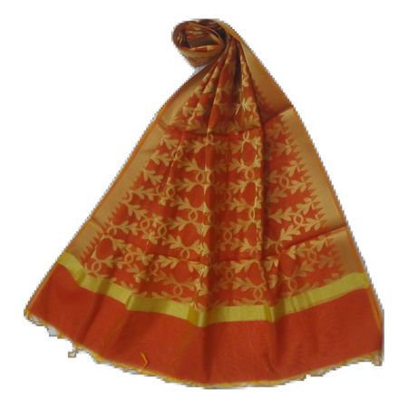 OSSUP153: Banarashee Cotton Silk Antique Gold Zari Butti Dupatta.