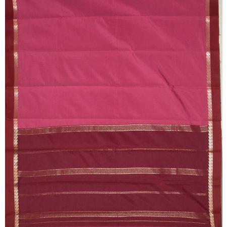 Pink with Maroon Soft Handloom Kanchi Silk saree AJ001240