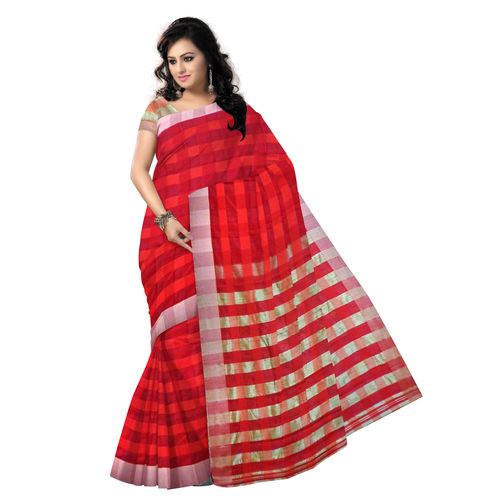 OSSWB064: Red color soft silk saree of West bengal.