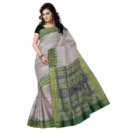 OSS3269: Grey color Handwoven Silk sarees for party wear.