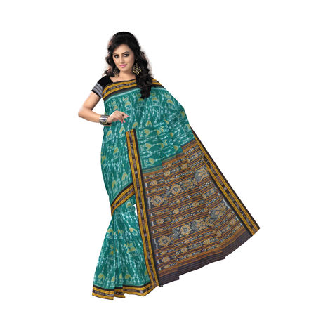 OSS9126: Green with black Tribal and Flower design Sambalpuri Cotton Sari