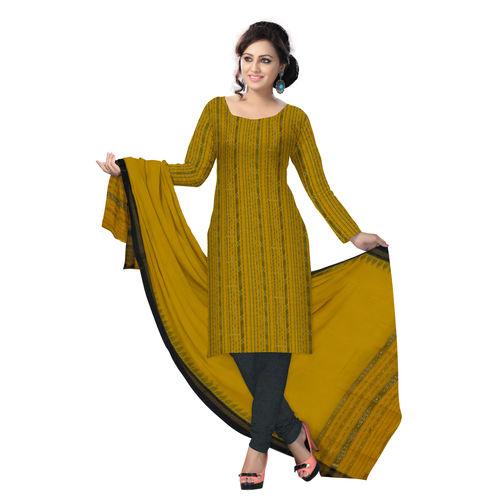 OSS6245: Orange with Black Cotton Salwar Suit Materials