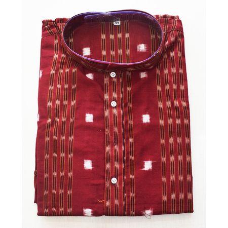 Red With Multi Sambalpuri Handloom cotton Kurta for Men made in Odisha Sambalpur AJ001770