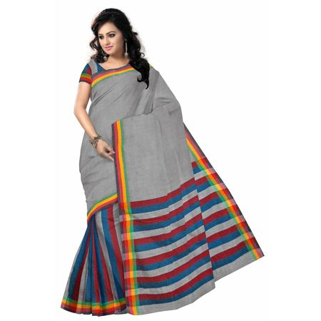 OSSWB042: West Bengal Plain design handloom cotton saree.