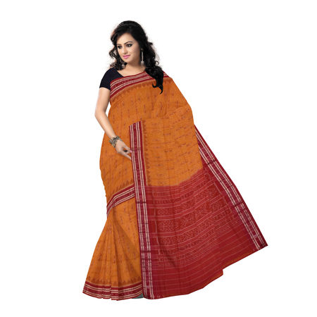 OSS7486: Ikat design Orange-Yellow colour cotton saree
