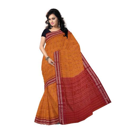 OSS7486: Ikat design Orange-Yellow colour cotton saree
