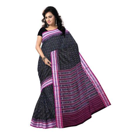 OSS286: Black with Magenta handloom Ikat design cotton saree