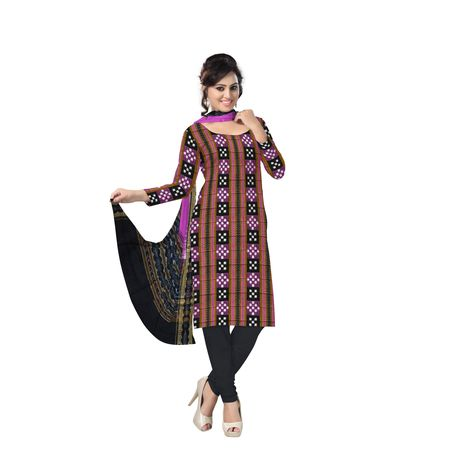 Beautiful Traditional Violet and Black Pasapali Ikat (tie & dye) Sambalpuri Cotton Dress Material AJ000133