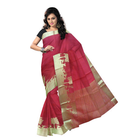 OSSTN005: Red Handwoven Kanjivaram Cotton saree