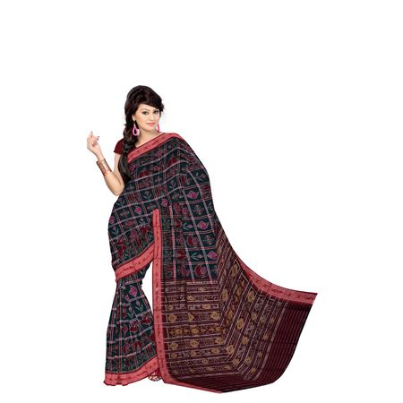 Green With Maroon Handloom Nabarangi (Nine Design) Cotton Saree Of Odisha AJ001377