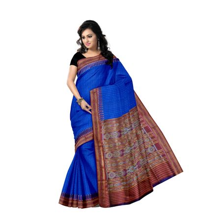 OSS171: Navy Blue color Indian Handwoven Katki Silk Sari.
