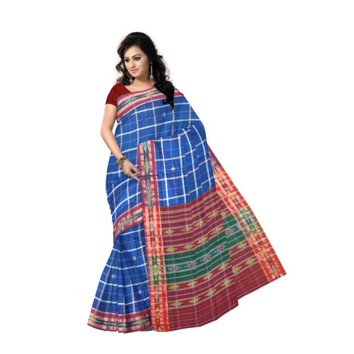OSS9140: Sky Blue with check design Cotton Saree