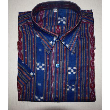 Handloom Sambalpuri Cotton Half Shirt in Blue small Pasapalli AJ001187 (Size-44)