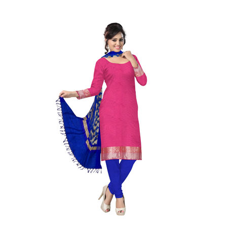 OSSUP103: Deep Pink with Blue Banarasi Unstitched Dress Material.