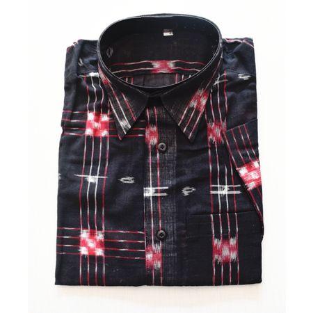 Black With Multi Handloom Half Shirt for Men Made in Odisha Sambalpur AJ001759