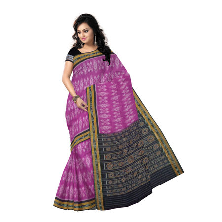 OSS9125: Magenta with black Alpana and Flower design sambalpuri Cotton Saree