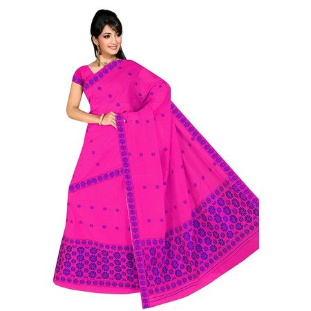 OSSASM100: Pink with Blue Mekhla saree of Assam.