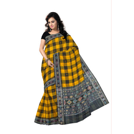 OSS9134: Mustard-Black Check Design Cotton Saree