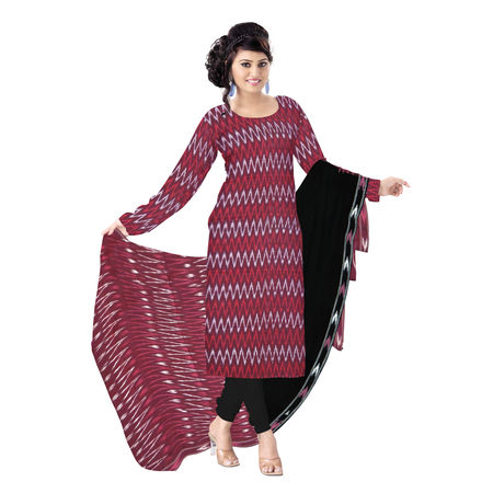OSSTG6239: Unstitched Women' s Handwoven Maroon with Black Pochampally cotton Dress Material with same Dupatta