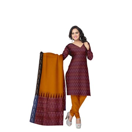 Unstitched Women's Handloom Light Red with Orange Ponchampally Ladies cotton Dress Material with Dupatta AJ001349