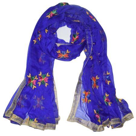 Punjabi Hand Embroidery Phulkari Buty Work Navy Blue Silk Dupatta, Stoles AJ001424