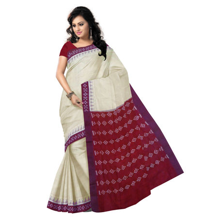 OSS9104: Light Brown with Maroon handloom pasapalli border Cotton Saree.