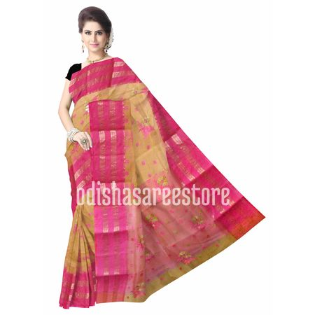 OSSWB060: Handloom cotton sarees with small flower design from Santipur