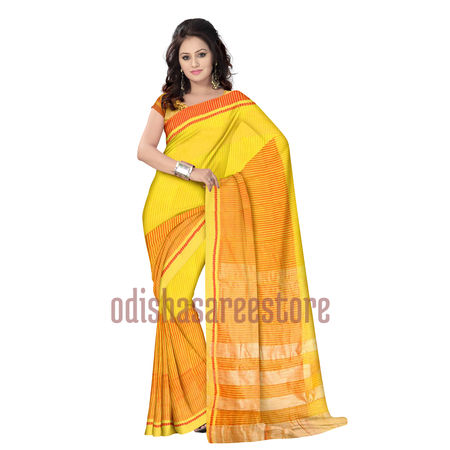 OSSWB025: Yellow Net saree online shopping.