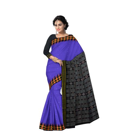 AJ000125: Beautiful Purple With Black Handloom Sambalpuri Silk saree with Blousepiece.