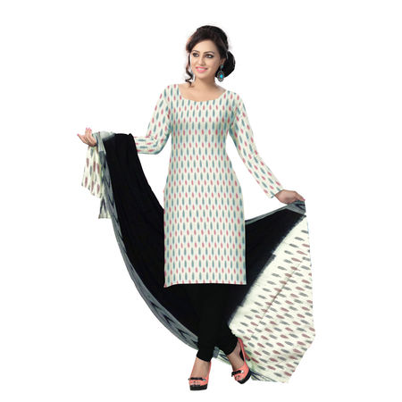 OSSTG6237: Unstitched Women' s Handwoven White with Black Pochampally cotton Dress Material with same Dupatta