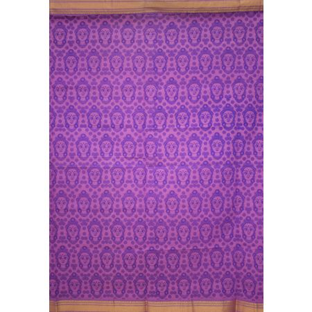 Light Purple Printed Handloom Cotton Dress Material of Telangana AJ001542