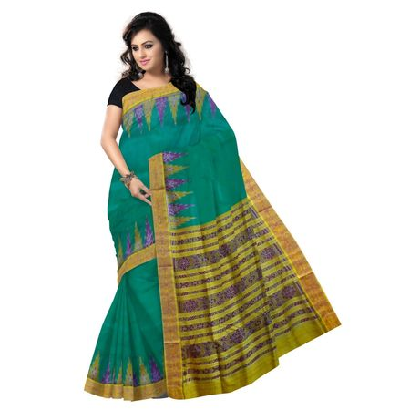 OSS9009: Traditional Handloom green with yellow Silk saree for party wear.
