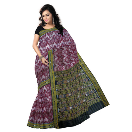 OSS5158: Maroon Sambalpuri silk Saree with Alpana design body and Ikat Border