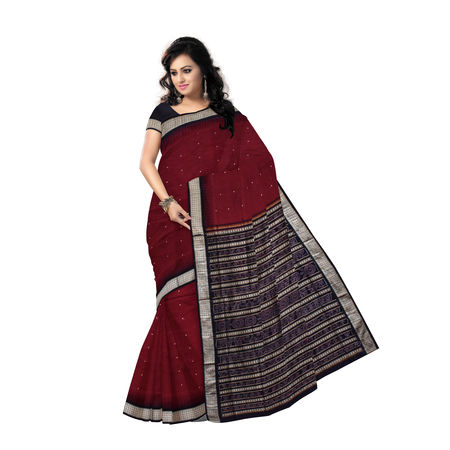 OSS019: Handwoven Bomkai Silk Saree of Sonepur in Maroon and Black