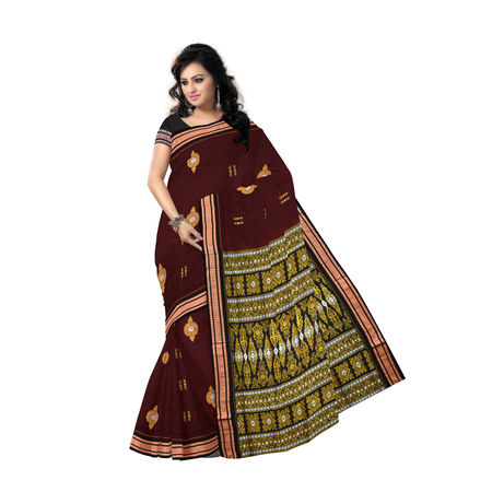AJ000117: Maroon with Black Handloom Bomkai cotton saree with Blousepiece