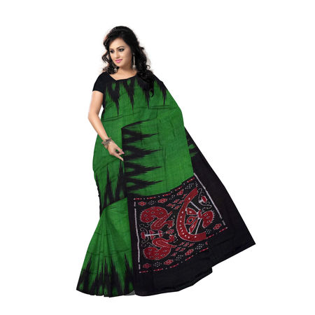 OSS220: Green Black color Pure handloom Cotton Saree of Odisha