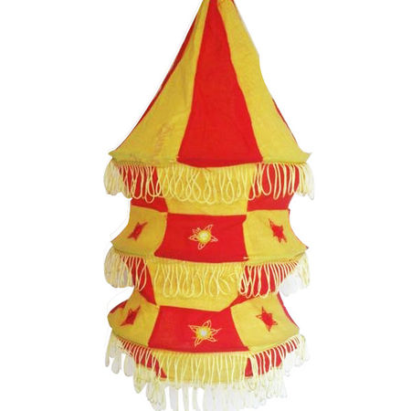 OHA023: Red with Yellow Applique Lamp shade.