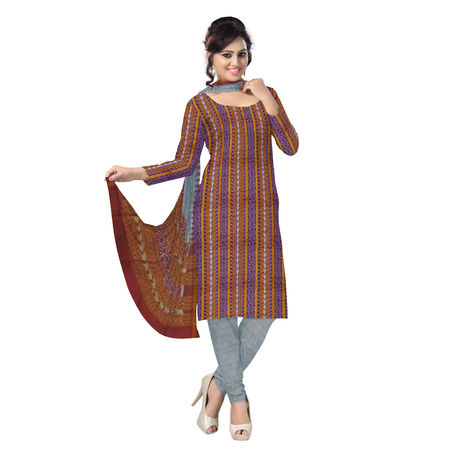OSS2003: Beautiful Traditional Dark Maroon & Grey Traditional Ikat(tie & dye) Sambalpuri Cotton Dress Material.