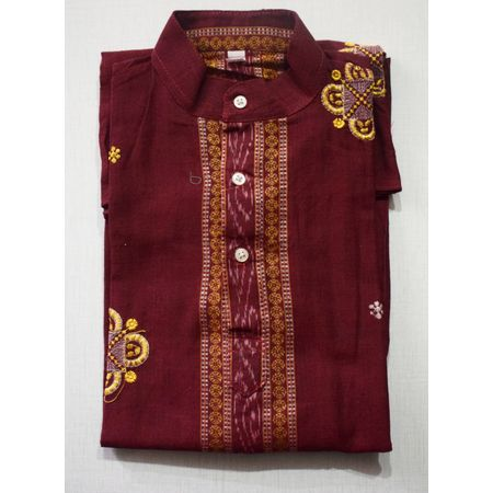OSS8438: Baby cotton handloom kurtas for durga puja (Size-26)