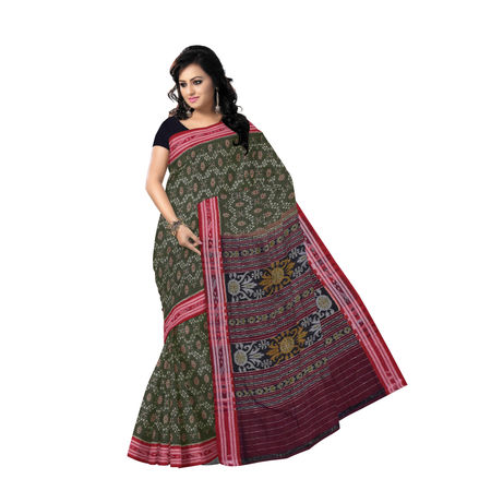 OSS9110: Chudi Pipin design multi-colour handwoen mercerized sambalpuri cotton sari