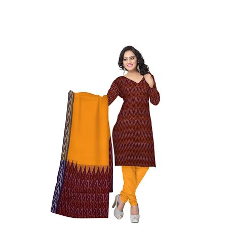 Unstitched Women's Handloom Maroon with Orange Ponchampally Ladies cotton Dress Material with Dupatta AJ001345